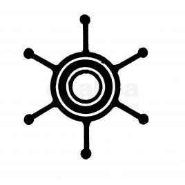 (Imp1) 500116 Impeller - 6 blad - afm. Ø 12,66 x 50,8 x 22,1.